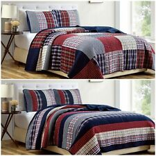 Chezmoi Collection Plaid Patchwork Washed Cotton Reversible Bedspread Quilt Set