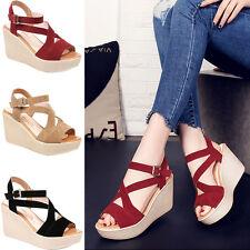 Fashion Women Wedge Heels Ladies Summer Platform Sandals Open Toe Chunky Shoes_6