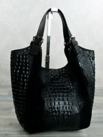 Ital. Shopper Beuteltasche Schultertasche echt Leder Krokooptik Schwarz 675S