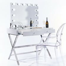 Niches Hollywood Makeup Vanity Mirror LED 2drawer Cosmetic White Gloss Table