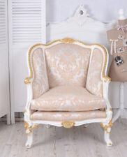 Vintage Fauteuil baroque or blanc CHAISE BERGERE accoudoirs de