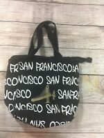 Robin Ruth San Francisco Tote Hand Bag Canvas Black White Golden Gate Bridge
