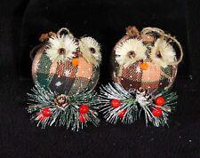 Woodland Plaid Owl Christmas Ball Ornaments