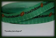 "1YD 7/8"" TOUCHDOWN FOOTBALL FIELD TURF PRINTED GROSGRAIN RIBBON HAIRBOW GREEN"