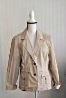 Chicos Womens Sz 2(L/12) Khaki Cotton Safari Blazer Jacket Metal Buttons Pockets