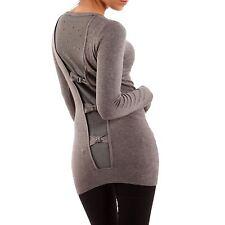 Markenlose feine hüftlange Damen-Pullover & -Strickware ohne Muster