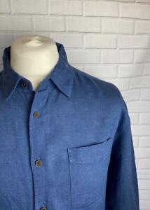 Mark Spencer Shirt Navy Linen XL Button Cuff Regular Fit