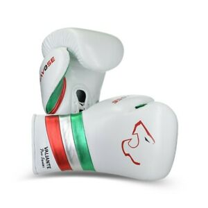 Valiante Pro White lace up. Premium Quality Real Leather Boxing Gloves for Bag &