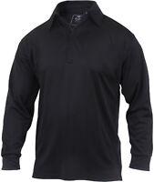 Black Moisture Wicking Tactical Performance Work Job Long Sleeve Polo Shirt