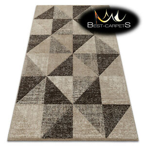 Thick Quality 20mm Modern Design Densely Soft Rugs 'FEEL' Triangles Beige Brown