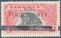 LIBERIA 1920, FOUR CENTS on 2 C. African Palm Civet superb unused, ERROR/VARIETY