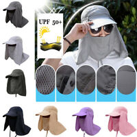 UV Protection Fishing Hat Removable Neck & Face Flap Cap Hiking Hunting Cycling