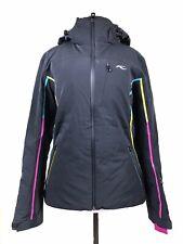 KJUS Ski Snow Jacket Womens - Prima Soft - Black w/ Pink, Real, Yellow Stripes