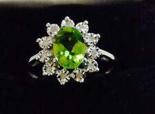 Peridot , Diamonds,10k White Gold  ,gemstone Ring,size7