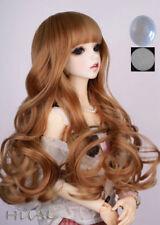 "7-8"" 1/4 BJD Long Mellow Cream Light Brown Curl Wig LUTS Doll SD DZ DOD Hair UAL"