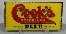 Old Cook's Goldblume Beer Reverse Painted Glass Back Bar Sign Evansville IN ROG