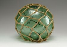 Japanese Green Glass Fishing Float Netting Buoys Tiki Decor Nautical Vintage 11""