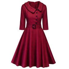 Vintage Plaids 3/4 Sleeve Dress Lapel Checks Retro Cocktail Belt Corset Dresses