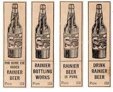 FOUR 1897 SEATTLE BREWING & MALTING CO, WASHINGTON RAINIER BEER ADVERTISEMENTS