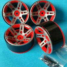 "1/10 RC Crawler Beadlock Wheels Alloy x4 1.9"" Red"