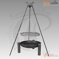 Feuerschale farmcook PAN 38 schwarz Ø 80 mit Schwenkgrill Rohstahl ohne Deckel