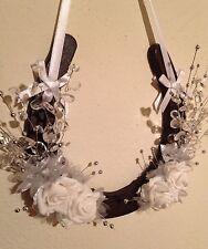 Wedding Lucky Horseshoe Cast Iron Bridal Gift White Roses Spray Crystals Silver