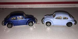 Maisto Volkswagen VW 1300 Beetle Die Cast Lot of 2 Blue 1/64