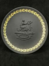 Jasperware Wedgwood Mother 1971 Child Plate Black Gold