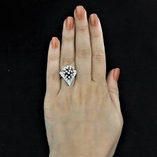 Mid Century Diamond 14k White Gold Cluster Dome Cocktail Ring Estate Vintage