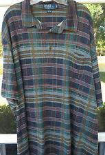 Ralph Lauren Short Sleeve Cotton Multi-Color Plaids Polo Shirt 3XB XXXL Big Man