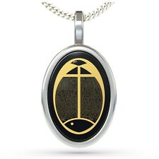 Sterling Silver Christian Pendant Fish Symbol Necklace 24K Gold Inscribed Onyx