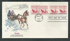 #1900 SLEIGH, U.S. NON-PROFIT Plate Number Coil 1983 Fleetwood First Day Cover