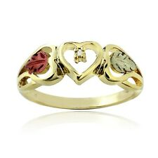 18K Gold over 925 Silver Two Tone Diamond Accent Heart & Leaves Ring Size 5