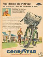 1960 Goodyear Bicycle Tire Paper Boy LARGE Print Ad