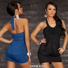 052 SEXY CLUBBING PARTY HALTERNECK MINI DRESS TUNIC BLACK BLUE ONLINE INNMARK