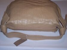 Pulicati Large Elegant Crocodile Embossed Camel Leather Bag Knotted Strap Hobo