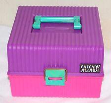 Vintage 80s SASSABY Make-Up Case Organizer Box Train Pageant Travel Purple Pink
