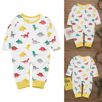 Newborn Infant Baby Girl Boy Cartoon Dinosaur Romper Jumpsuit Playsuit Outfits
