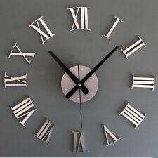 Large 3D Wall Clock Luxury Mirror Sticker Home Decoration DIY Bedroom 2 Color JA