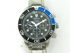 Estate Stainless Seiko Solar Divers Prospex SSC017 Mens Watch 44mm