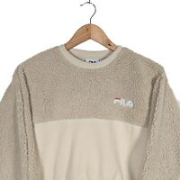 FILA Cream Fleece Cropped Jumper Pullover Sweater - Size XS