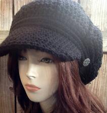 Black Style Newsboy Hat Crochet Slouchy Cap Adult  Beanie Hat with Visor Beret