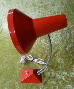 DDR Tischlampe Orange Schwanenhals Mid Century 70er Table Lamp Schreibtischlampe