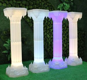 4pc. LED Luminous White Wedding Roman Column Carved Pillar Flower Stand