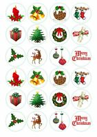 24 Christmas Iced / Icing / Frosting Cupcake Topper Edible Fairy Cake Toppers