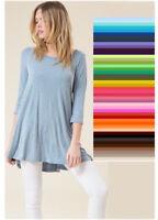Womens Tunic Top 3/4 Sleeve Dress Round Neck Rayon S M L XL Plus 1X 2X 3X USA