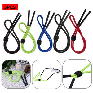 5Pcs Rubber Adjustable Eyewear Retainer Safety Sunglass Strap Rope Glasses Hooks