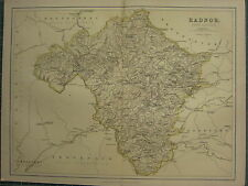 1875 ANTIQUE WALES WELSH COUNTY MAP ~ RADNOR KNIGHTON PRESTEIGN