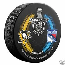 PITTSBURGH PENGUINS vs NEW YORK RANGERS 2016 Playoffs NHL DUELING LOGO PUCK NEW