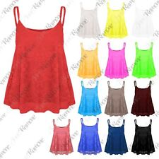 New Womens Full Floral Lace Mesh Camisole Strappy Cami Flare Swing Vest Tank Top